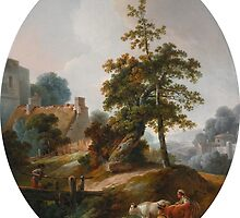 Jean-Baptiste HuëtLANDSCAPE WITH A YOUNG BOY AND A SHEPHERDESS WITH COWS AND SHEEP by Adam Asar