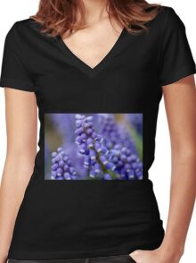 Macro Grape Hyacinth Blossoms 2 Women's Fitted V-Neck T-Shirt