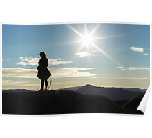Silhouette woman on a mountain top Poster