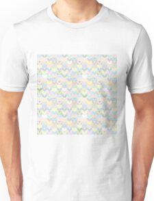 Pastel hearts. Yellow pink blue heart pattern. Lovely Unisex T-Shirt