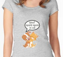 Cat and dog together Women's Fitted Scoop T-Shirt
