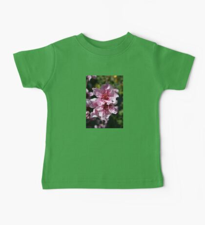 Peach Tree Blossom With Garden Background Baby Tee