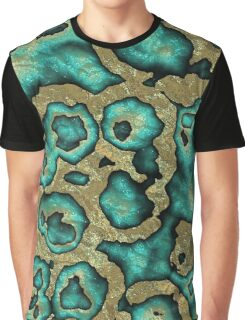 Funky Teal Turquoise Faux Gold Swirls Pattern Graphic T-Shirt
