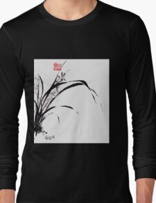 Japanese Orchid Design painted by Lee Henrik Long Sleeve T-Shirt