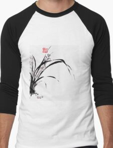 Japanese Orchid Design painted by Lee Henrik Men's Baseball ¾ T-Shirt