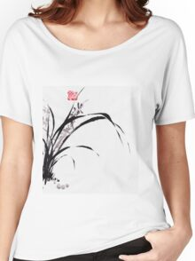 Japanese Orchid Design painted by Lee Henrik Women's Relaxed Fit T-Shirt