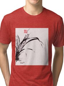 Japanese Orchid Design painted by Lee Henrik Tri-blend T-Shirt
