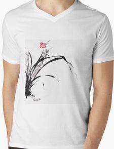 Japanese Orchid Design painted by Lee Henrik Mens V-Neck T-Shirt