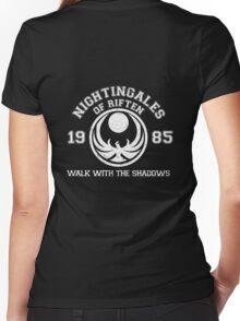 Nightingales of riften - black Women's Fitted V-Neck T-Shirt