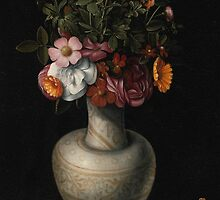 Ludger tom Ring the Younger, STILL LIFE WITH WILD ROSES, PEONIES AND OTHER FLOWERS IN A WHITE EARTHENWARE VASE by Adam Asar