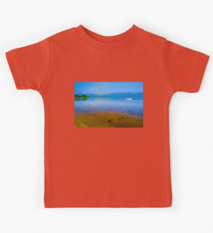 Tranquil Lake Painting of Loch Lomond Kids Tee