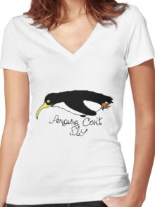 Flip the Bird - Penguin Women's Fitted V-Neck T-Shirt
