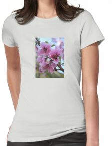 Peach Tree Blossom Close Up Womens Fitted T-Shirt
