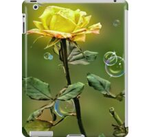 Long stem yellow rose with bubbles, phone cases and skins iPad Case/Skin