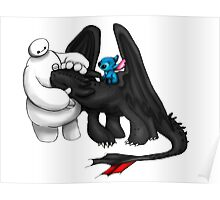 Baymax, toothless and Stitch Poster