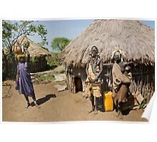 Mursi couple. The woman has an elongated lower lip  Poster