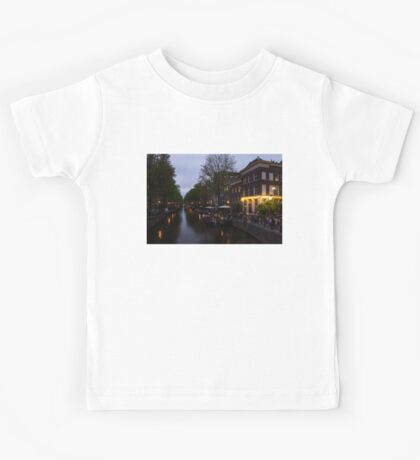 Springtime Amsterdam - Canalside Restaurant With a Terrace in Jordaan Kids Tee