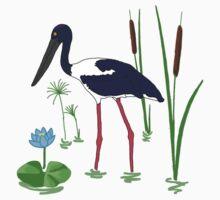 JABIRU - Black-Necked Stork One Piece - Short Sleeve