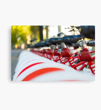 Row of bicycles Canvas Print