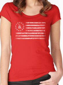 Dont Tread On Me - Original Rebel Flag (White) Women's Fitted Scoop T-Shirt