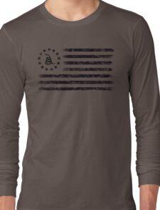 Dont Tread On Me - Original Rebel Flag (Black) Long Sleeve T-Shirt