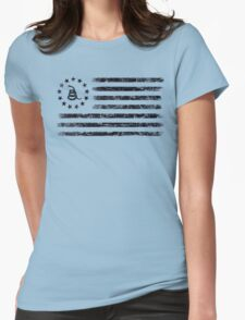 Dont Tread On Me - Original Rebel Flag (Black) Womens Fitted T-Shirt
