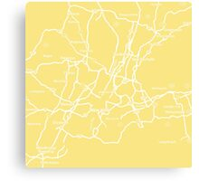 Map of yellow New York Canvas Print