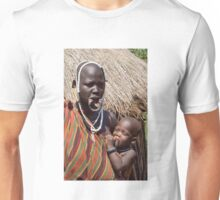Woman of the Mursi with elongated lower lip to hold a clay disk as body ornaments Unisex T-Shirt