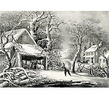 A snowy morning - Currier & Ives - 1864 Photographic Print