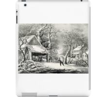 A snowy morning - Currier & Ives - 1864 iPad Case/Skin