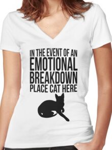 Place cat here Women's Fitted V-Neck T-Shirt