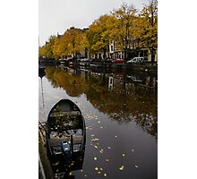 Autumn in Amsterdam - the Abandoned Boat Photographic Print