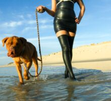 woman in latex dress walks her dog on the beach Sticker