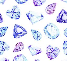 Blue and violet diamond crystals watercolor seamless vector pattern by lavendertime