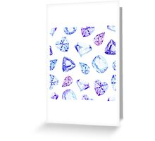 Blue and violet diamond crystals watercolor seamless vector pattern Greeting Card