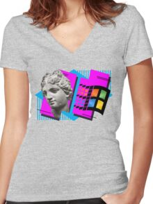 Vaporwave Women's Fitted V-Neck T-Shirt