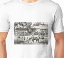 A stopping place on the road - the horse shed - Currier & Ives - 1868 Unisex T-Shirt