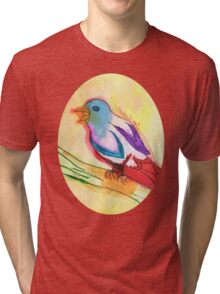 Colorful Tropical Watercolor Bird Illustration Tri-blend T-Shirt