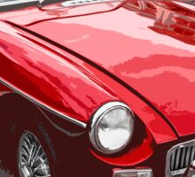Red convertible MG classic car Sticker