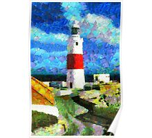 A digital painting of Europa Point Lighthouse, Gibraltar Poster