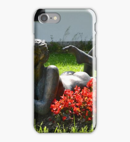 Metal Statue of a Lady on a Summer's Day iPhone Case/Skin
