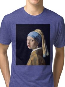 Johannes Vermeer - Girl with a Pearl Earring Tri-blend T-Shirt