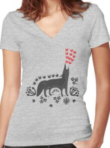 Wolf...  Women's Fitted V-Neck T-Shirt