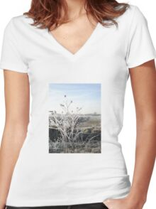 White Frost Women's Fitted V-Neck T-Shirt