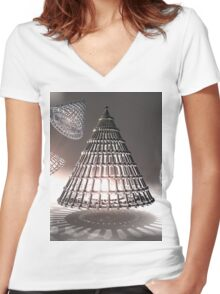 Gridded Light Women's Fitted V-Neck T-Shirt
