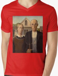 Grant Wood - American Gothic Mens V-Neck T-Shirt