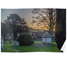 Hambleden churchyard and garage, Buckinghamshire Poster