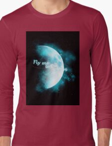 Fly me to the moon - Blue Long Sleeve T-Shirt