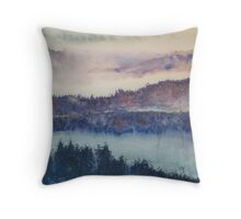Rhine Trees in the Mist Throw Pillow