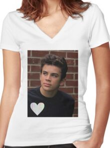 Hayes Grier- trippy heart Women's Fitted V-Neck T-Shirt